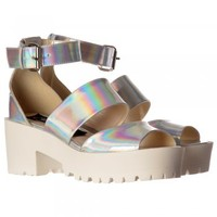 Onlineshoe Low Block Heel Cleated Sole Summer Sandals - Ankle Strap - Pewter Chrome, Silver Hologram - Onlineshoe from Onlineshoe UK