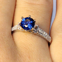 Solitaire Sapphire Promise Ring – Blue Cubic Zirconia