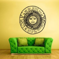 Wall Vinyl Sticker Decals Decor Art Bedroom Design Mural Sun Crescent Dual Sign Quote Ethnical Symbol Moon (Z2320)