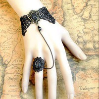 Gothic Lolita Victorian BLACK LACE bracelet Mirror w chain n ring | eshopmania - Accessories on ArtFire