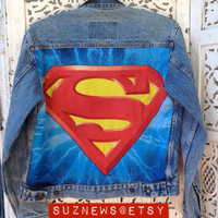 Superman Style Denim Jean Jacket with Crest and Patch Unisex Size Small Sup