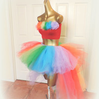Adult high low Tutu, Pride tutu, rainbow high low tutu, gogo dancer, rave tutu, edc raver tutu, Somewhere over the rainbow
