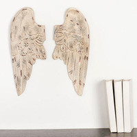 CARVED WOODEN WINGS WALL DECOR