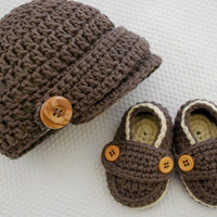 Taupe and Almond Baby Newsboy Hat & Loafer Booties by MaddyMade