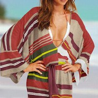 Striped Linen Cover-up Sweater