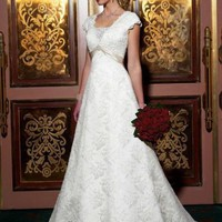 Modern A-line Short Sleeves Lace Wedding Dress Bridal Gown With Bow And Beads