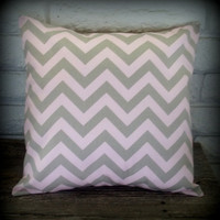 The Kelly - 18 X 18 Pink And Gray Chevron - Zig Zag Pillow Cover | Luulla