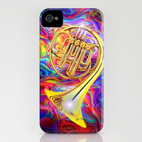 Psychedelic French horn iPhone Case by JT Digital Art  | Society6