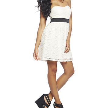 White Tube Lace Dress | Wet Seal