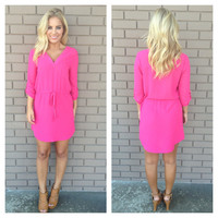 Hot Pink 3/4 Sleeve Drawstring Dress