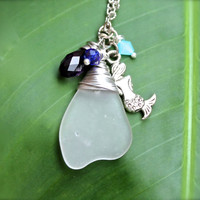 Mermaid Necklace Seaglass Jewelry from Hawaii by Mermaid Tears Mermaid Jewelry made in Hawaii Sea Glass Necklace Ocean Inspired Pendant
