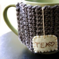 Personalized Tea Mug Cozy Custom Grey Coffee Cosy by KnitStorm
