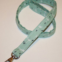 Lanyard  ID Badge Holder -  Lobster clasp and key ring - Meadow Dandelion Seeds Teal