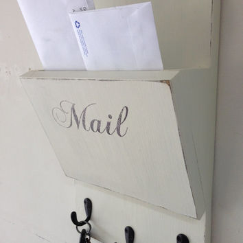 Shabby Chic Wood Hanging Mail Organizer From