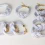 Set of 9  White silk cord Knot Bracelet  by TheUrbanLady on Etsy
