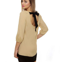 Cute Taupe Dress - Shift Dress - Color Block Dress - $35.00
