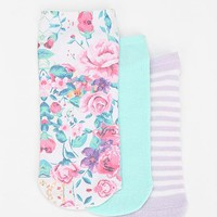 Sweet Floral No-Show Sock - Pack Of 3 - Urban Outfitters
