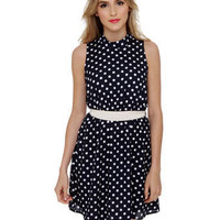 Cute Polka Dot Dress - Navy Blue Dress - Sleeveless Dress - &amp;#36;40.00