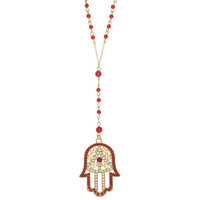 Red Beaded Hamsa Hand Necklace