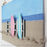 Original Fabric Beach Illustration on Canvas by HavenOfHarmony