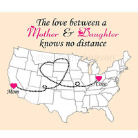 Long Distance Mom Print- grandma mothers day, gift for mother, states names map, long distance love, travel moving away, hearts states map