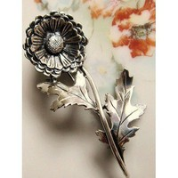 Vintage Sterling Silver Daisy Flower Brooch | AestheticsAndOldLace - Jewelry on ArtFire