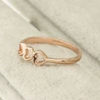 FM42 18k Yellow Gold Plated Simple & Elegant Triple Hearts Design Ring R188
