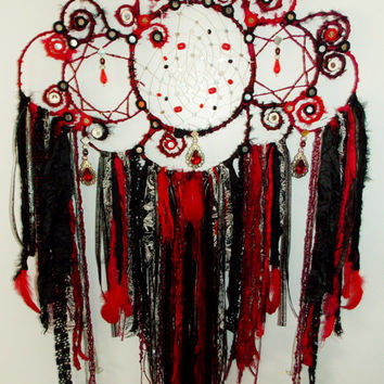 Big Bold & Beautiful Black-Red-Silver Fantasy Wall Art - Dreamcatcher -  SASSY  handmade treasure