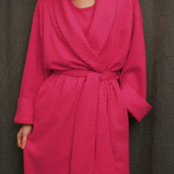 Hot Pink 3/4 Length Shawl Collar Robe Cotton Dot, Made In The USA, | Simple Pleasures, Inc.