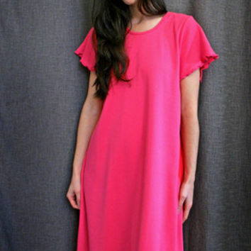 Pink Short Sleeve 3/4 Length NightGown Cotton Interlock, MadeInTheUSA | Simple Pleasures, Inc.