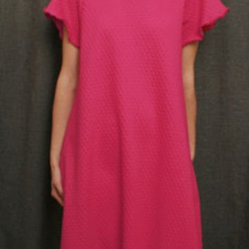 Hot Pink Short Sleeve Long NightGown Cotton Dot, Made In The USA, | Simple Pleasures, Inc.