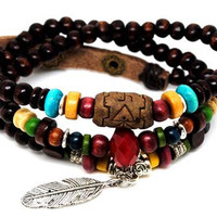 3 circles chocolate wood beads women jewelry by braceletcool
