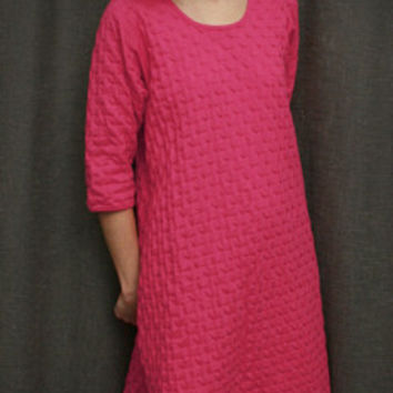 Hot Pink 3/4 Sleeve 3/4 Length Gown Cotton Waffle, Made In The USA | Simple Pleasures, Inc.
