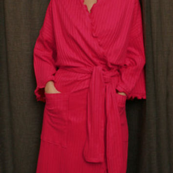 Hot Pink Long Wrap Robe Cotton Dot, Made In The USA, | Simple Pleasures, Inc.