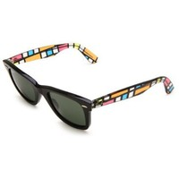 Ray-Ban Original Shield Sunglasses,Black & Multi Frame/Green Lens,One Size - designer shoes, handbags, jewelry, watches, and fashion accessories | endless.com
