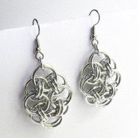 Helm Flower chainmaille earrings
