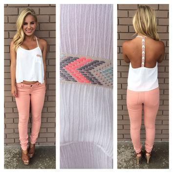 Neon Embroider T-Back Tank - WHITE