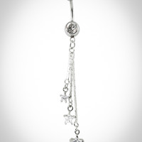 14 Gauge Bling Banana Belly Button Ring with Star Dangles