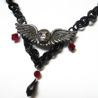 Sugar skull necklace Gothic Chainmaille , Winged skull necklace
