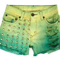 Ombre Studded Hand Dyed Teal Pastel Yellow Levi's Cut Offs by GirlMeetsClothes on Etsy