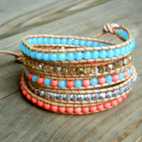 Beaded Leather Wrap Bracelet 5 Wrap with Coral and Turquoise Czech Glass Beads on Genuine Natural Sand Leather Summer Bracelet