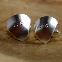 Sterling silver personalized guitar pick cuff links with initials monograms or to customize