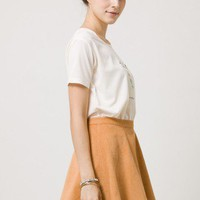 Corduroy Skater Skirt in Camel - Retro, Indie and Unique Fashion