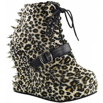 "Women's ""Bravo"" Platforms by Demonia (Leopard)"