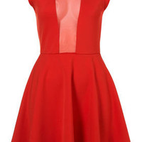 Mesh Insert Skater Dress - Fit & Flare Dresses - Dresses - Apparel - Topshop USA