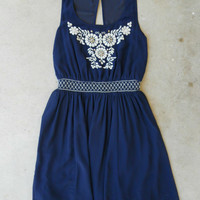Navy Stonefly Dress [5463] - $43.00 : Vintage Inspired Clothing & Affordable Dresses, deloom | Modern. Vintage. Crafted.