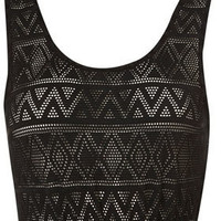 Aztec Lace Crop Top - Jersey Tops  - Clothing  - Topshop