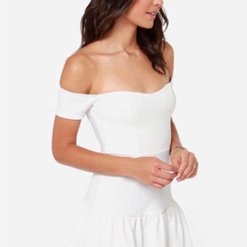 Work Your Magic Off-the-Shoulder Ivory Dress