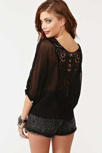 Crochet Tie Top - Black at Nasty Gal