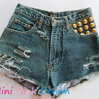 Vintage 80s Acid Wash Studded Shorts